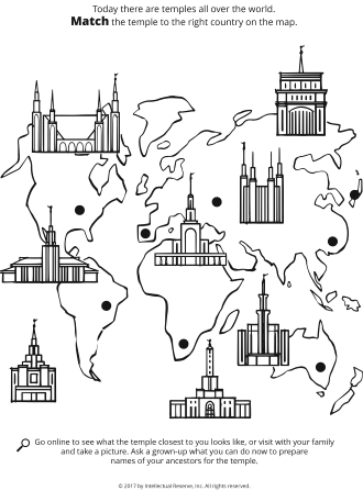 Line drawings of different temples on top of a world map.