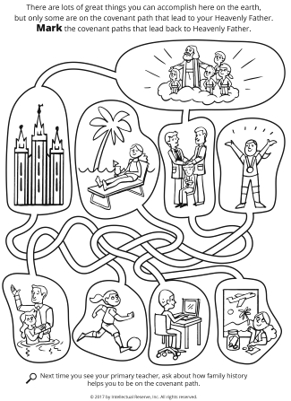 Line drawings of a maze with people doing activities, the Salt Lake Temple, and Heavenly Father at the top with children.