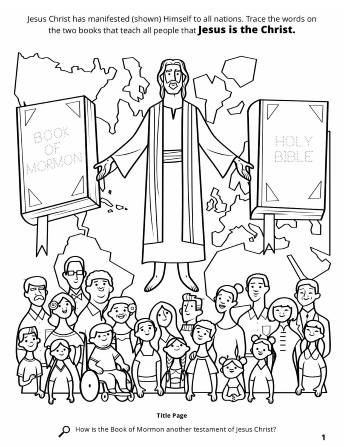A line drawing of the Bible, Book of Mormon, and Jesus Christ with a crowd of all types of people from all over the world.