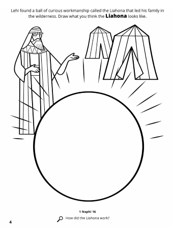 A line drawing of Lehi standing next to tents and a circular space to draw the Liahona.