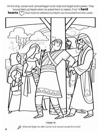 A line drawing of Laman and Lemuel tying Nephi up in anger after he asked them to repent.