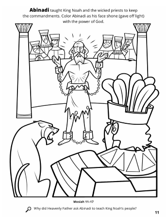 A line drawing of Abinadi in chains teaching King Noah and his priests about keeping the commandments.