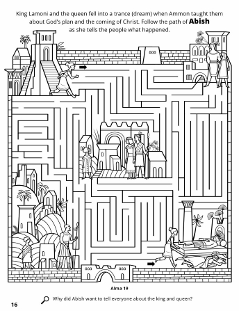 A line maze with Abish running to tell groups of people of King Lamoni's dream.