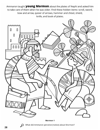 A line drawing of Ammaron teaching young Mormon about the plates.