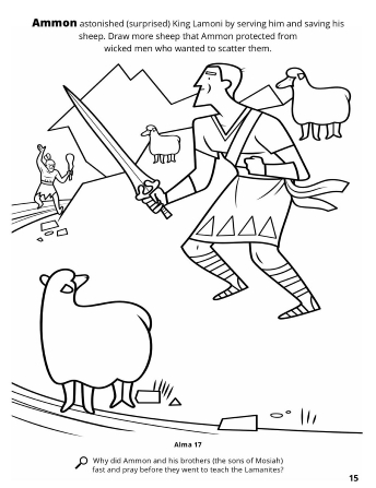 A line drawing of Ammon with his sword pulled out protecting his sheep from the wicked men.