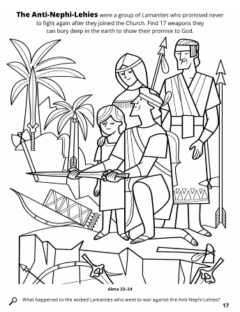 A line drawing of the Anti-Nephi-Lehies burying their weapons to keep their promise to God with a weapon seek and find activity.