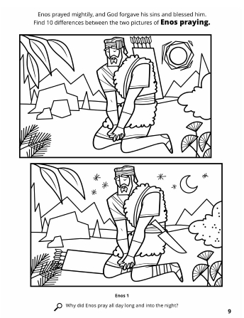A line drawing of two similar images of Enos praying with a spot the difference activity.