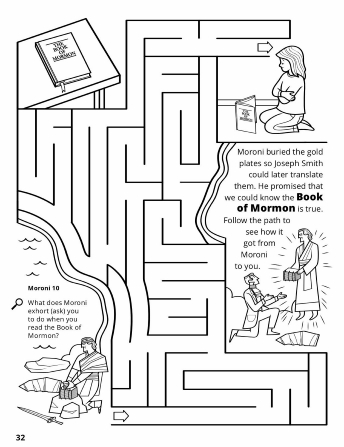 A maze depicting the Golden Plates starting with Moroni burying them, Joseph Smith receiving them, and a young girl reading their translated words in the Book of Mormon.