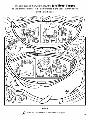 A line drawing of the Jaredites traveling across the sea in their bowl-shaped barges with ocean life surrounding them.