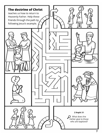 A line maze of Nephites following Jesus's example.