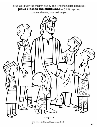A line drawing of Jesus surrounded by children while He blesses them.