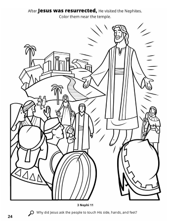 A line drawing of Jesus Christ's visit to the Americas after being resurrected.