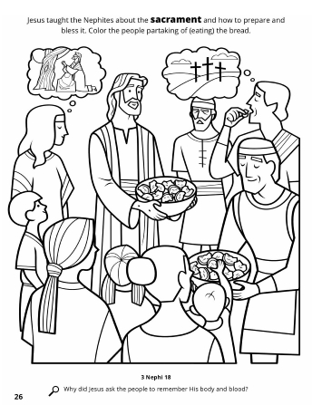 Blood Donation Coloring Pages.  Jesus Institutes the Sacrament among Nephites