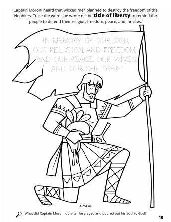 A line drawing of Captain Moroni kneeling with his title of liberty.