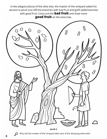 A line drawing depicting the parable of the olive tree and the master of the vineyard.