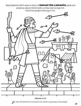 A line drawing of Samuel the Lamanite preaching to the Nephites of Christ's coming while they unsuccessfully try to shoot him with arrows.