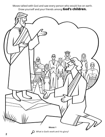 A line image of Moses kneeling at God's feet with a vision bubble portraying people and children from all over the world throughout time.