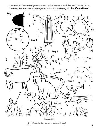 Line images of Jesus Christ, animals and plants with a connect the dots game depicting each day of the Creation.