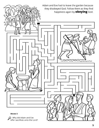 A line image of the Garden of Eden with an animal search and find game.