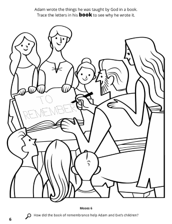 A line drawing of Adam writing in his book of remembrance surrounded by Eve and his children.