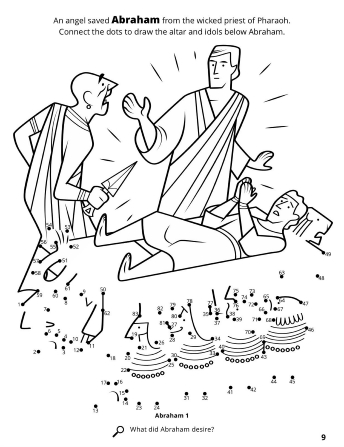 A line image of a wicked priest and Abraham upon an altar with a connect the dots game.