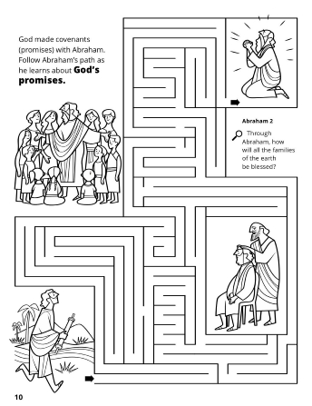 A line maze depicting different images of Abraham learning about the Abrahamic Covenant (promises) that God gave to him.