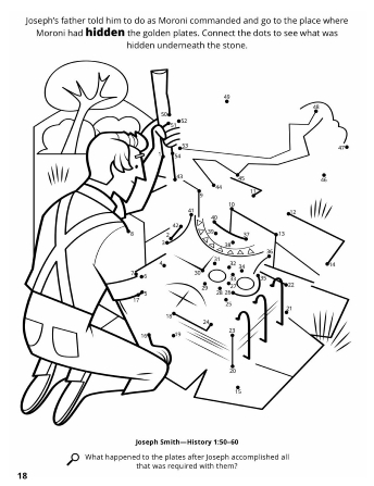 A line image of Joseph Smith Jr. searching for the hidden golden plates and a connect the dot game revealing what he found.