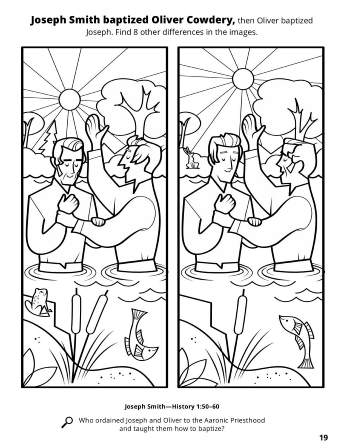 A line drawing of two similar images of Oliver Cowdery and Joseph Smith baptizing each other with a spot the difference game.