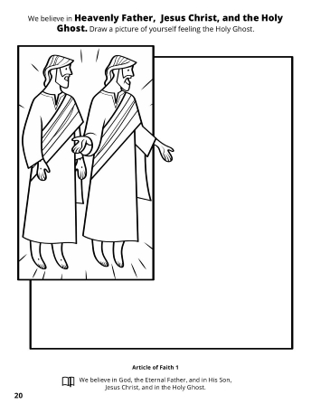 A line image of Jesus Christ and Heavenly Father with a blank drawing square.