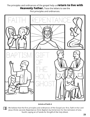 A collage of images depicting the principle and ordinances of the Gospel: faith, repentance, baptism, and the gift of the Holy Ghost.