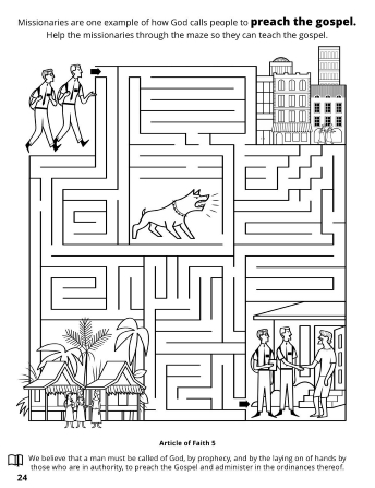 A line maze of missionaries preaching the gospel through various places in the world.