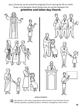 Line drawings depicting the primitive and latter-day Church with a matching game.