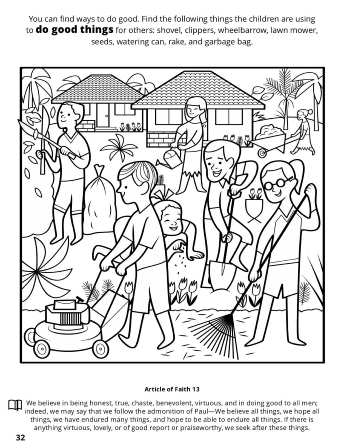 A line image of a family doing yard work and service at a home with a seek and find game.