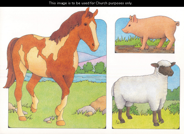 Primary cutouts of a brown horse with cream-colored spots walking, a pig standing in mud, and a white sheep with a black face, legs, and ears.