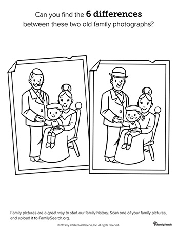 Two black-and-white line drawings of the same old family photograph with a few subtle differences between them.