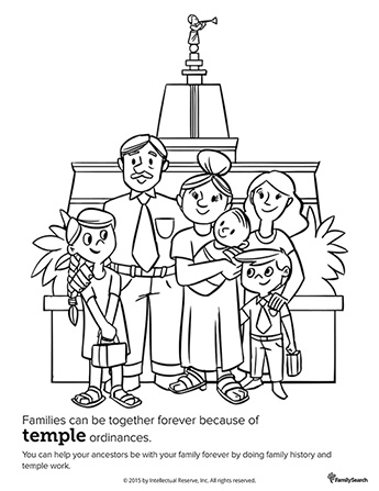 A black-and-white line drawing of a father, mother, daughter, and three sons standing in front of a temple together.