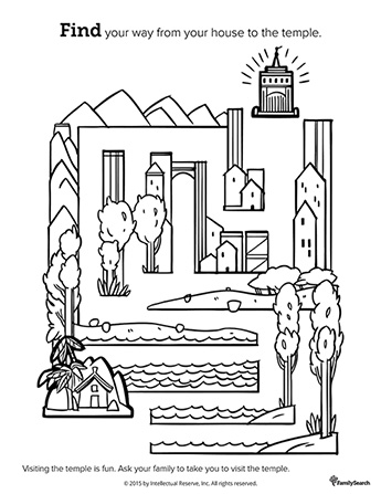 A black-and-white drawing of a house in one corner and a maze of water, trees, and houses leading to a temple in another corner.