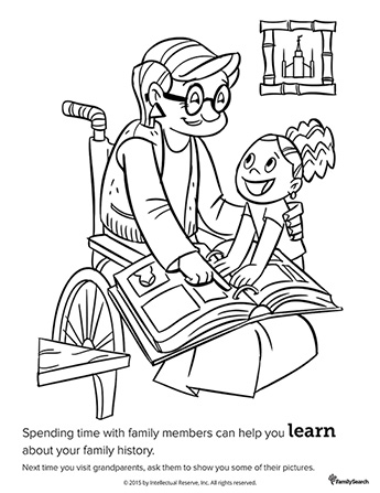 A black-and-white drawing of a grandmother sitting in a wheelchair and showing her granddaughter a photo album on her lap.