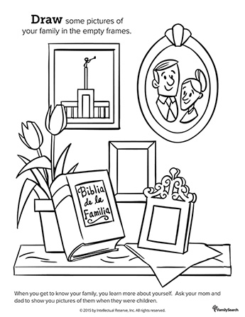 A black-and-white drawing of flowers in a pot, a family Bible, and empty picture frames on a shelf for you to draw in pictures of your family members.