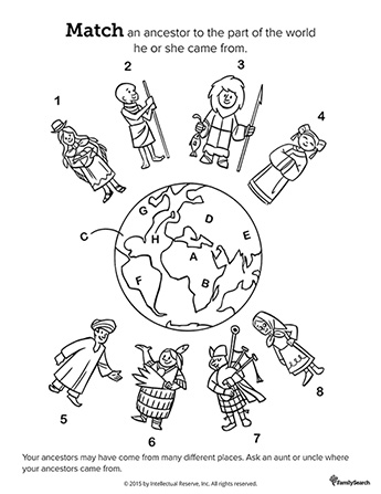 A black-and-white drawing of the world surrounded by eight people in traditional clothing from diverse countries.