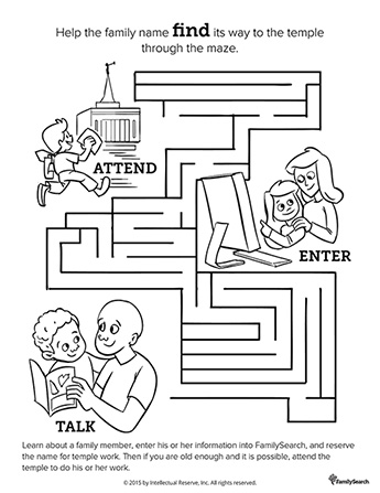 A black-and-white drawing of a maze including a mother and daughter working on a computer, a father and son looking at a book, and a boy running to the temple.