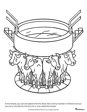 A black-and-white drawing of a baptismal font on the backs of oxen inside a temple, with stairs on either side.