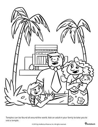 A black-and-white drawing of a father, mother, son, and baby standing outside of a temple with palm trees on each side.