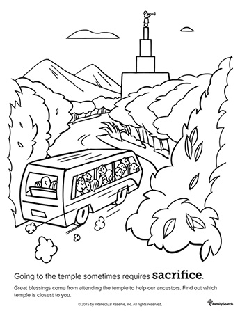 A black-and-white drawing of a bus full of people driving down a road past trees and mountains toward a temple.