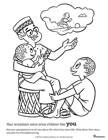 A black-and-white drawing of a grandfather sitting down with two of his grandsons while telling them a story from his childhood.