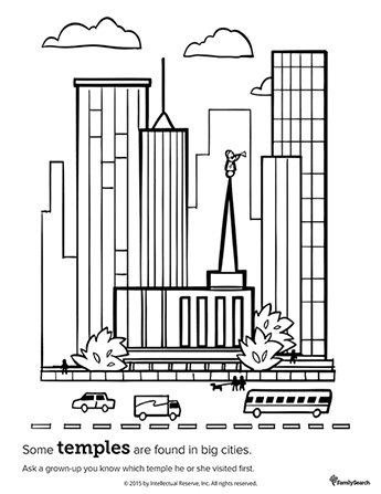 A black-and-white drawing of a temple surrounded by large buildings with a street full of cars and people in the foreground.