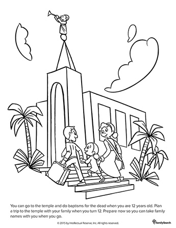 A black-and-white drawing of a father and mother holding hands with their daughter as they walk up the temple stairs together.