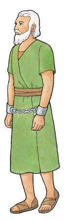 An illustration of Abinadi, a character from the Book of Mormon, with his wrists chained.