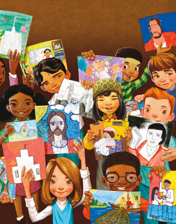 An illustration of a group of children from around the world, holding up pictures they drew of Christ, temples, and other gospel-related subjects.