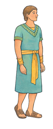 An illustration of a male character from the Book of Mormon dressed in a blue robe, yellow sash, and sandals.